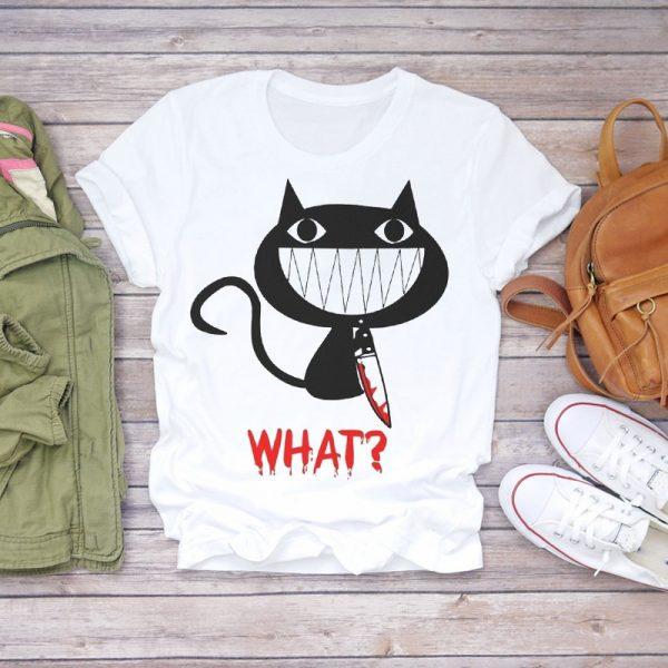 Funny Cat Print Women T-shirts 4