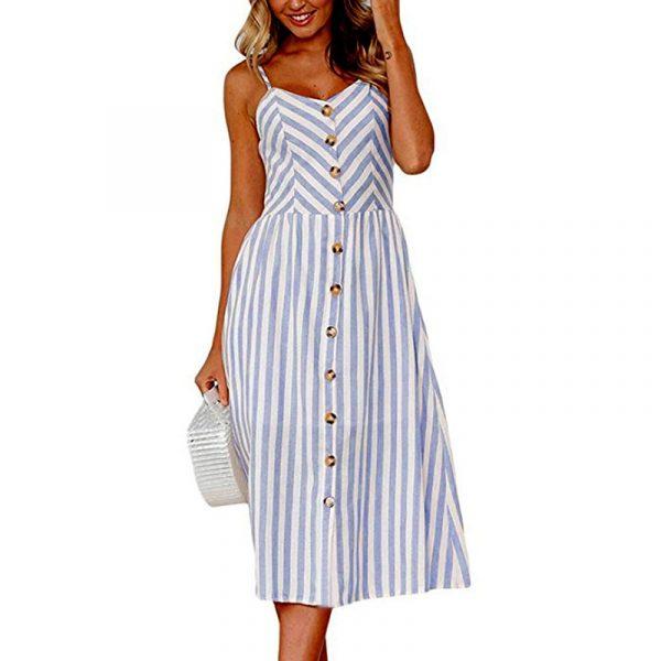 Vintage Midi Backless Stripe Women Dress 41