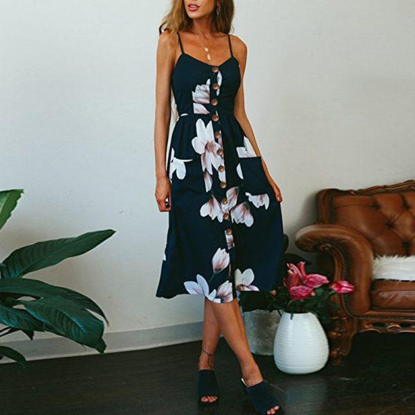 Vintage Midi Backless Flower Print Women Dress 7