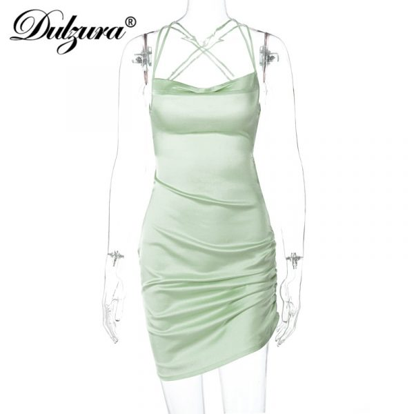 Satin Strap Ruched Lace Up  Backless Mini Dress 6