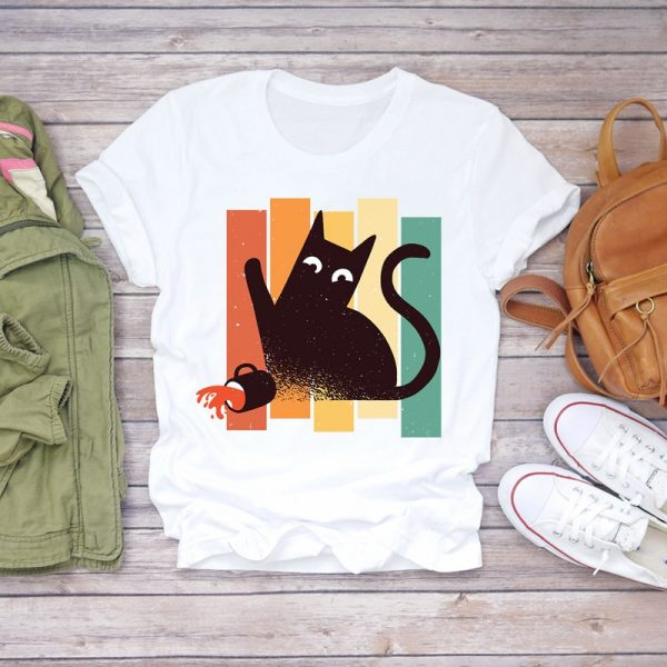 Funny Cat Print Women T-shirts 5