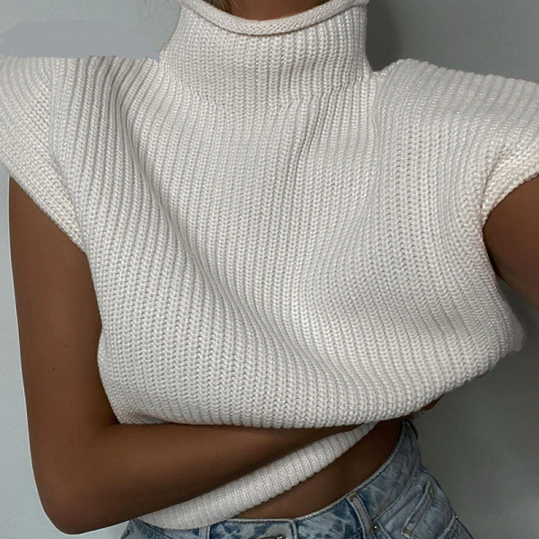 Turtleneck Sleeveless Sweater Top With Shoulder Pads  2