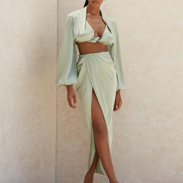 Silky Satin Long Sleeve Crop Top AND Skirt Two Piece Set
