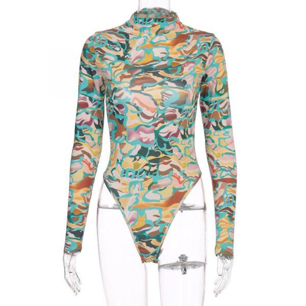Backless Long Sleeve Print Bodysuit Skinny Body  5