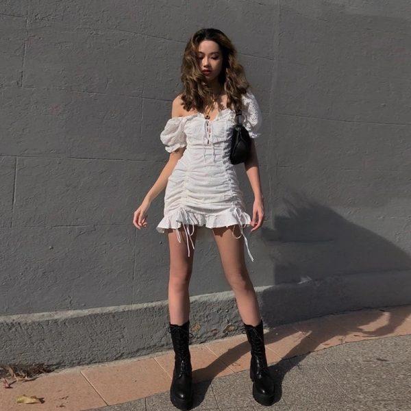 Puff Sleeve Ruffle Mini Dress 5