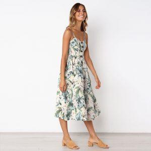 Vintage Midi Backless Stripe Women Dress 66