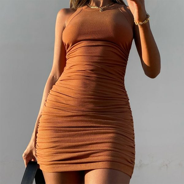 Casual Ruched Sleeveless  Bodycon  Mini Dress 29