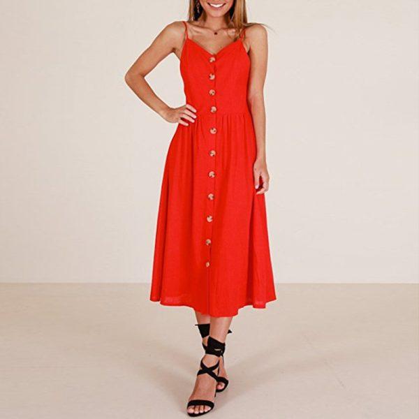 Vintage Midi Backless Stripe Women Dress 83