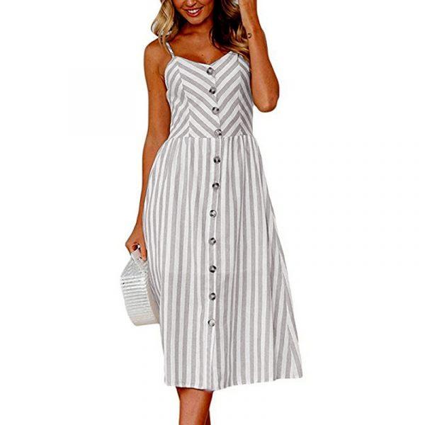 Vintage Midi Backless Stripe Women Dress 16