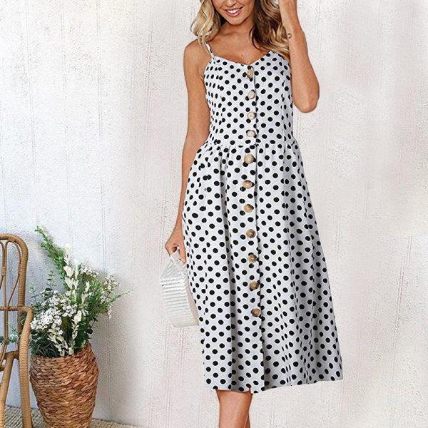 Vintage Midi Backless Stripe Women Dress 45