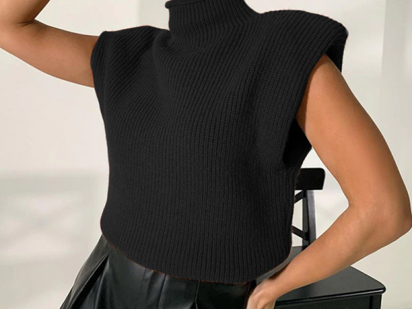 Turtleneck Sleeveless Sweater Top With Shoulder Pads  1