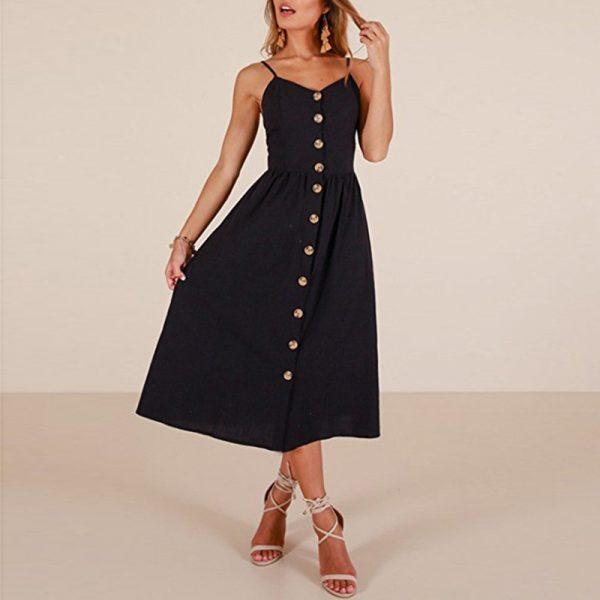 Vintage Midi Backless Women Dress 11