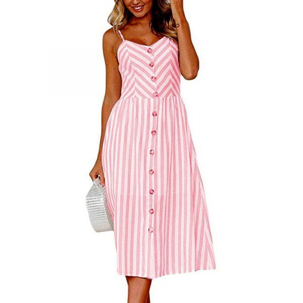 Vintage Midi Backless Stripe Women Dress 39