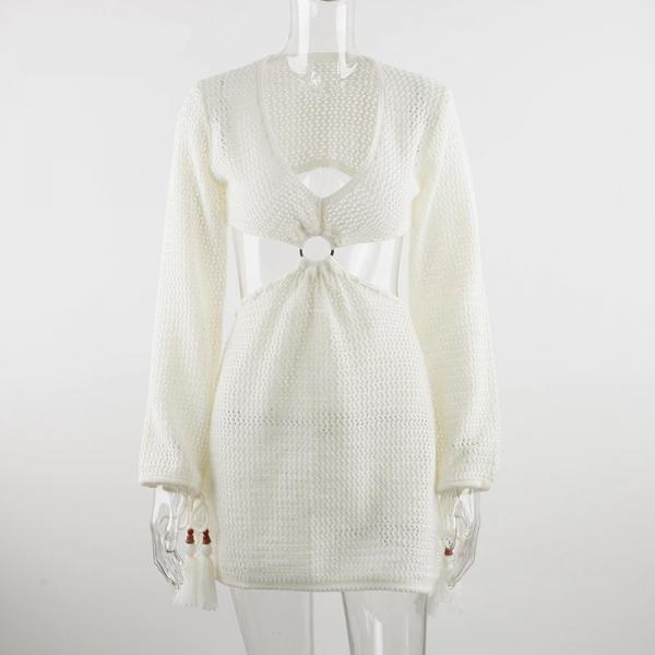 Knit Long Sleeve Backless V Neck Dress  4