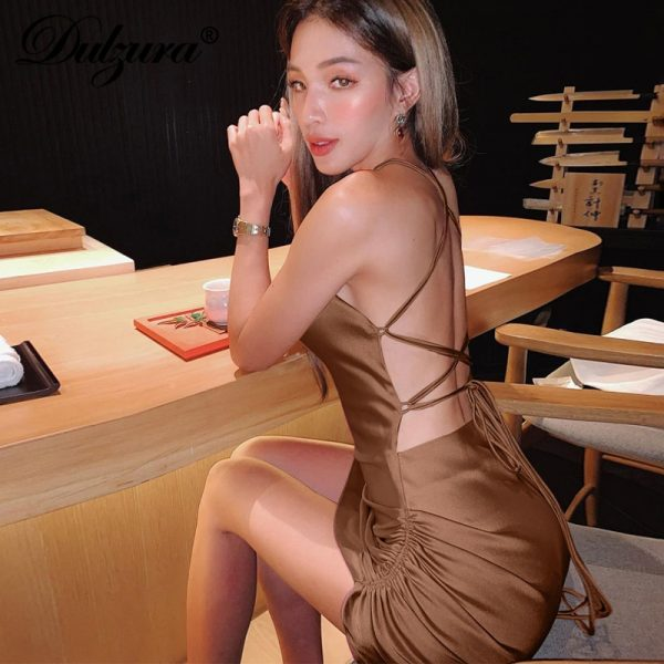 Satin Strap Ruched Lace Up  Backless Mini Dress 2