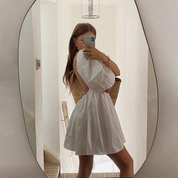 Backless Puff Sleeve Lace Up Mini Dress 4