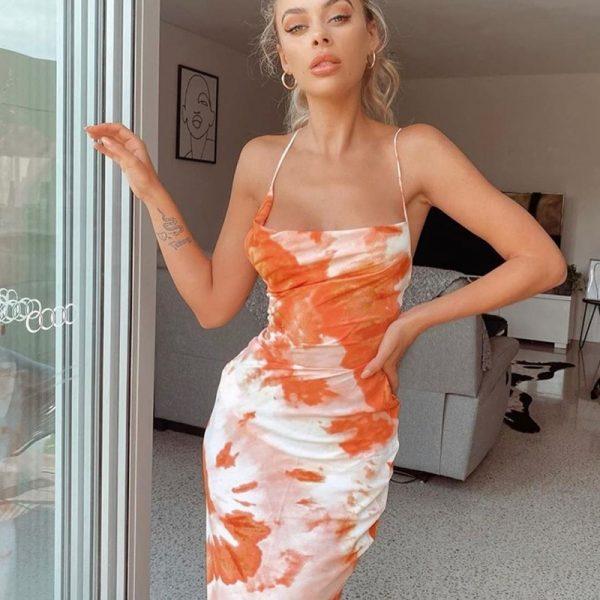 Backless Lace Up  Sleeveless Sundress Midi Dress 4