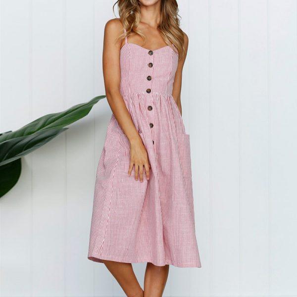 Vintage Midi Backless Stripe Women Dress 37