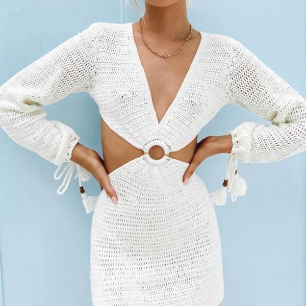 Knit Long Sleeve Backless V Neck Dress