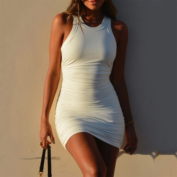 Casual Ruched Sleeveless  Bodycon  Mini Dress 3