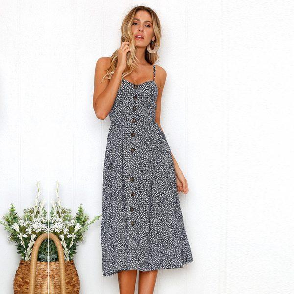 Vintage Midi Backless Dots Women Dress 58