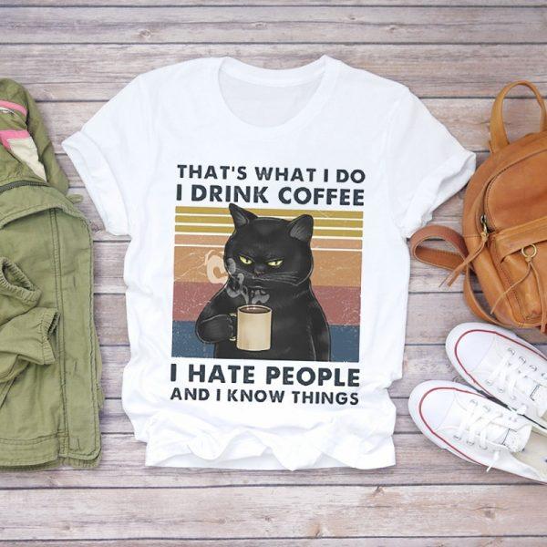 Funny Cat Print Women T-shirts 1