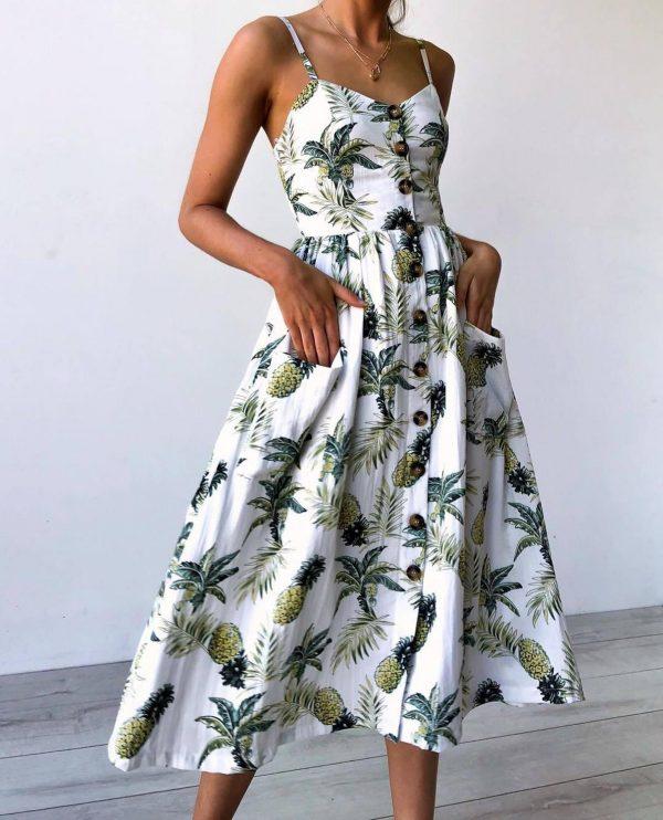 Vintage Midi Backless Stripe Women Dress 33