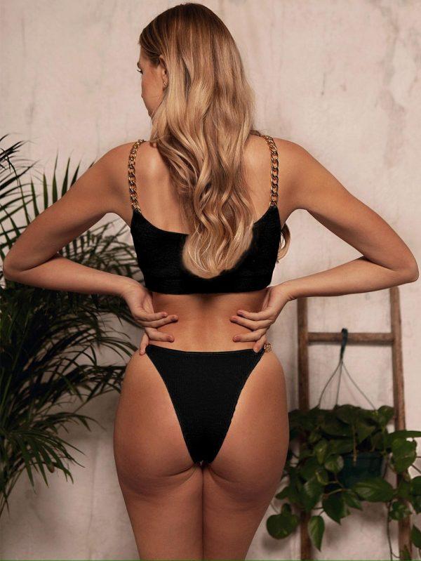 Chain Straps Two Piece Bikini Swimsuit  3