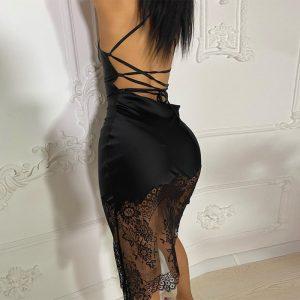 Backless Spaghetti Strap Bandage Midi Dress 1