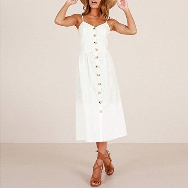 Vintage Midi Backless Stripe Women Dress 85