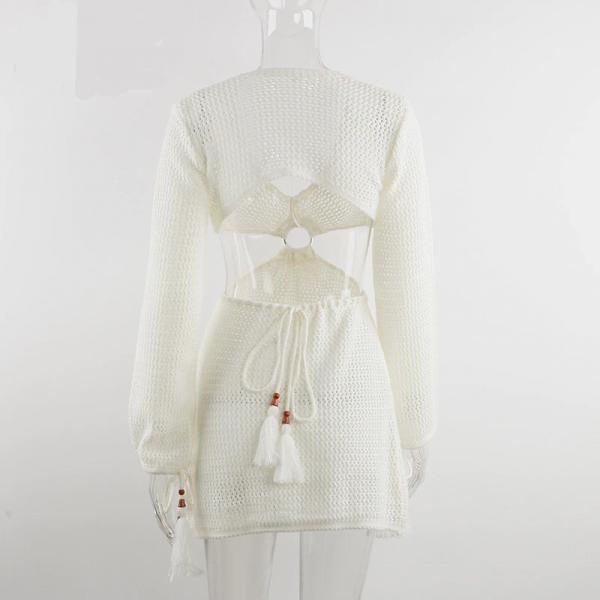 Knit Long Sleeve Backless V Neck Dress  5