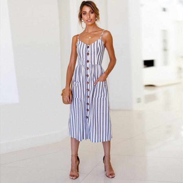 Vintage Midi Backless Dots Women Dress 71
