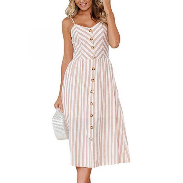 Vintage Midi Backless Stripe Women Dress 42