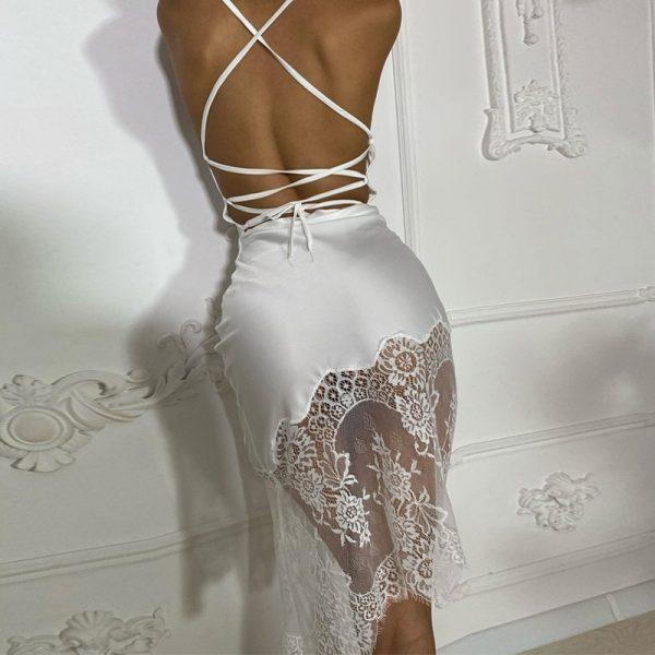 Backless Spaghetti Strap Bandage Midi Dress 4
