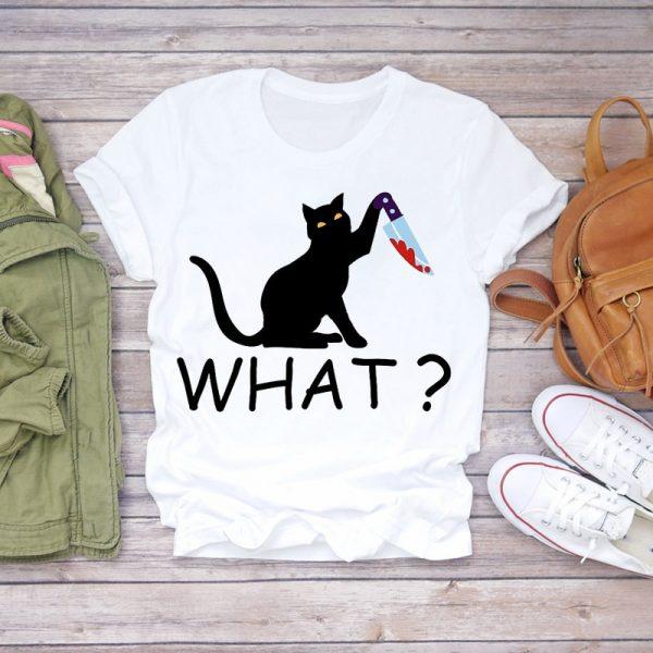 Funny Cat Print Women T-shirts 3