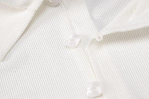 Ribbed button side slit turndown midi dress  10