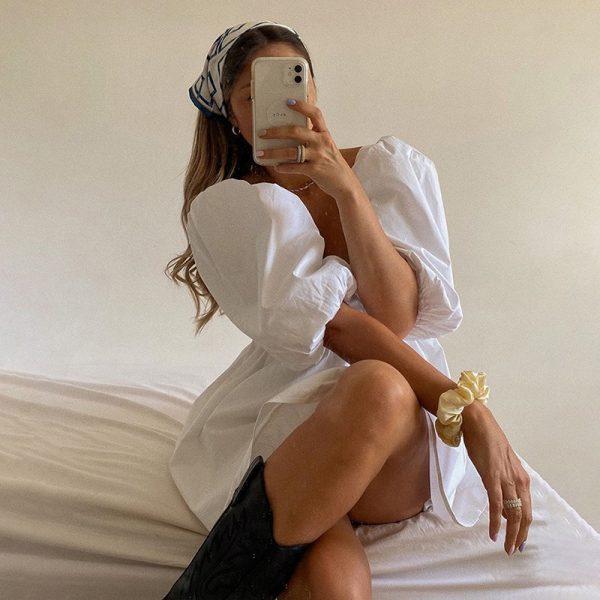 Backless Puff Sleeve Lace Up Mini Dress 1