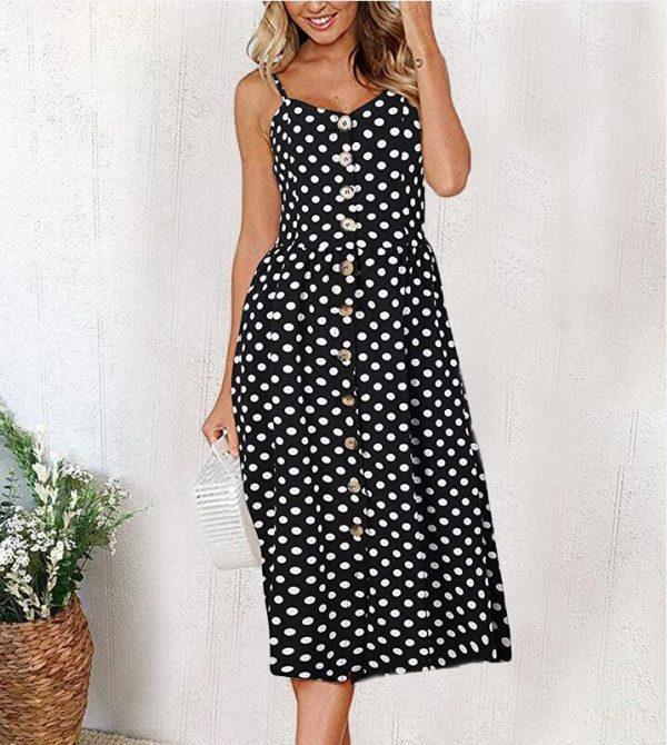 Vintage Midi Backless Dots Women Dress 15