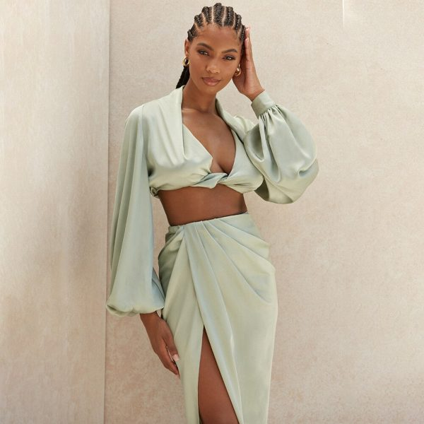 Silky Satin Long Sleeve Crop Top AND Skirt Two Piece Set 2