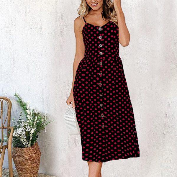 Vintage Midi Backless Flower Print Women Dress 47