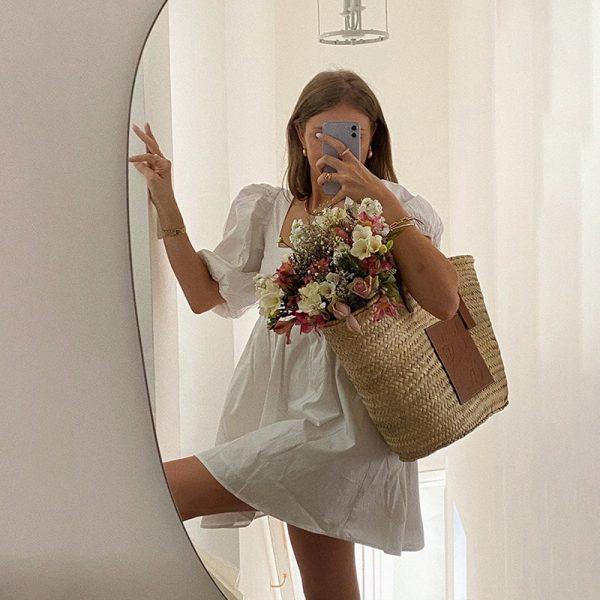 Backless Puff Sleeve Lace Up Mini Dress 5