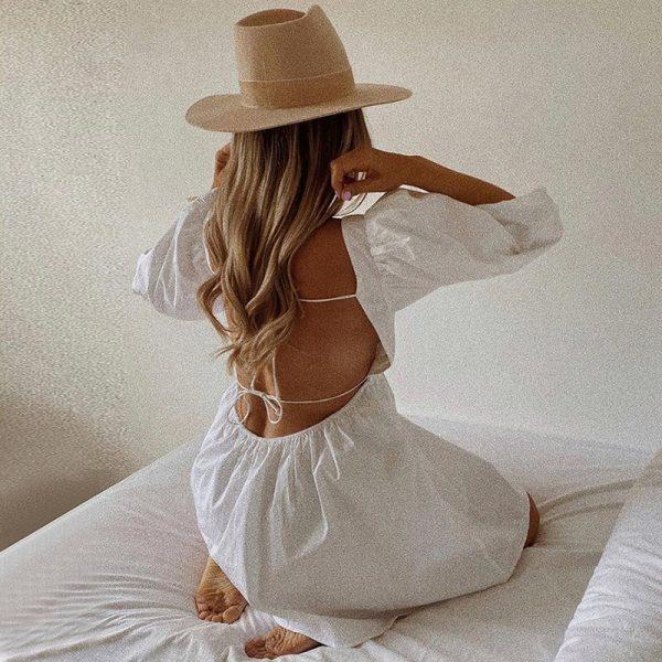 Backless Puff Sleeve Lace Up Mini Dress 2