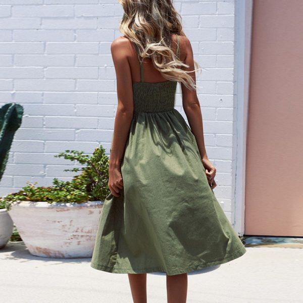 Vintage Midi Backless Stripe Women Dress 36