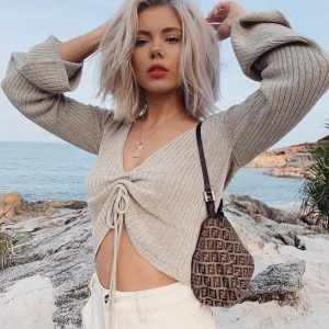 V-Neck Drawstring Ruched Long Sleeve Striped Crop Top Blouse  2