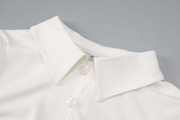 Ribbed button side slit turndown midi dress  11