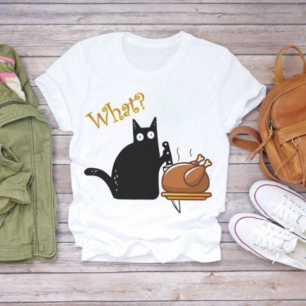 Funny Cat Print Women T-shirts 6