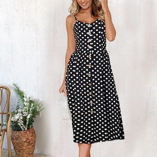 Vintage Midi Backless Stripe Women Dress 43