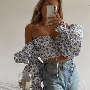 Blue Floral Print Square Collar Puff Sleeve Top  2